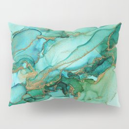 Emerald Gold Waves Abstract Ink Pillow Sham