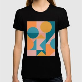 Colorful Geometric Abstraction in Blue and Orange T-shirt