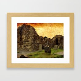 Ancient Irish Graveyard Ruins Framed Art Print