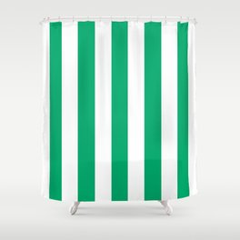 Jade green - solid color - white vertical lines pattern Shower Curtain