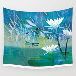 Dragonfly and Blue Pond Wall Tapestry