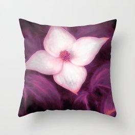 Single Dogwood Flower Purple Throw Pillow