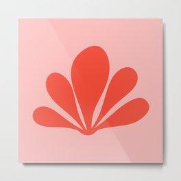 Tropical Plant Minimalism - Pink & Red Metal Print