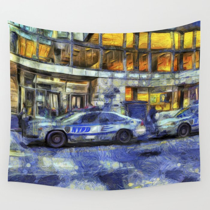 New York police Department Van Gogh Wall Tapestry
