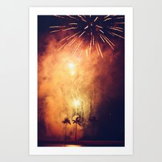 Fireworks and Palm Trees Art Print