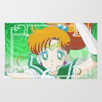 sailor jupiter Area & Throw Rugs featuring Sailor Jupiter  by Neo Crystal Tokyo