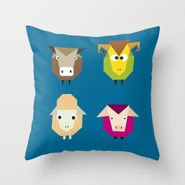 geometric farm Throw Pillow