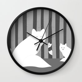 White foxes Wall Clock