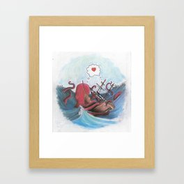 Octopus and Pirate Ship in Love Framed Art Print