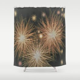 Gold Stars Wrapped in Night Shower Curtain