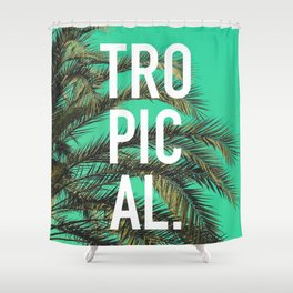 Vintage summer tropical typography palm tree photography Shower Curtain