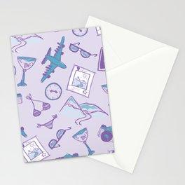 World travel memories sketch pattern Stationery Cards