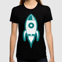 Blue Rocket Blastoff Clipart T-shirt