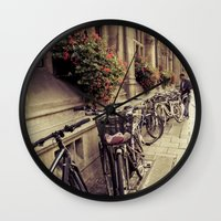 bikes Wall Clocks featuring Bikes by Ines Valencia
