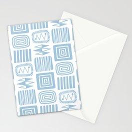 Retro Mid Century Modern Check Pattern 359 Blue Stationery Cards