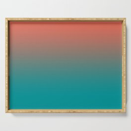 Pantone Living Coral & Viridian Green Gradient Ombre Blend Serving Tray
