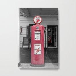 Vintage Route 66 Antique Fire Chief Red Gas Pump Metal Print