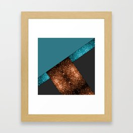 Aqua blue and bronze sparkles modern color block art Framed Art Print