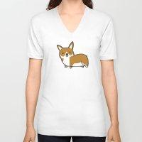 corgi V-neck T-shirts featuring Corgi by Chloe Meister