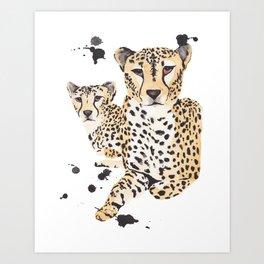 Cheetah Twins Art Print