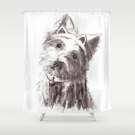Bon Bon - the cat-like dog Shower Curtain
