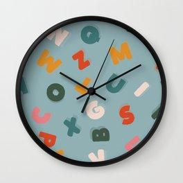 blue retro alphabet soup Wall Clock