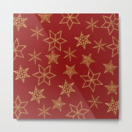 Snowflakes Red And Gold Metal Print