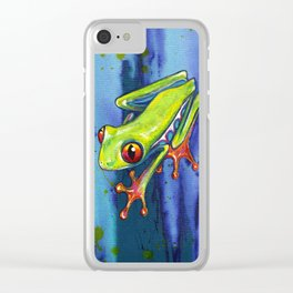 RED EYED TREE FROG Clear iPhone Case