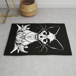 Sphynx Skull - Black and White Cat Flower Dark Art Rug