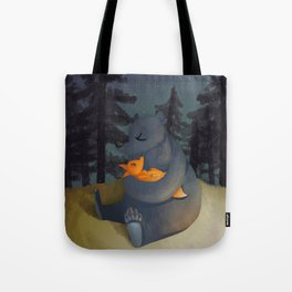 The fox and his foster mum Tote Bag