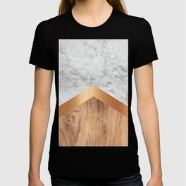 Arrows - White Marble, Rose Gold & Wood #924 T-shirt