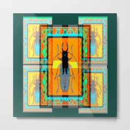 WESTERN TEAL TURQUOISE BEETLE ORANGE ART DESIGN Metal Print