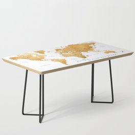 For God so loved the world, world map in gold Coffee Table