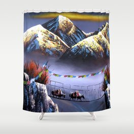 Panoramic View Of Everest Mountain Shower Curtain