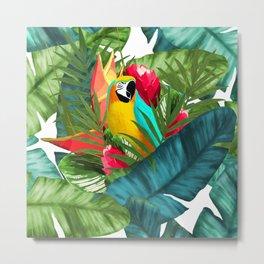 Fresh Parrot Tropical Banana Leaves Bouquet Metal Print