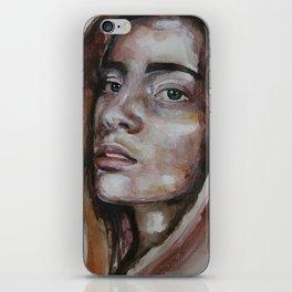 art work, watercolor portrait, beautiful face model with green eyes, original iPhone Skin
