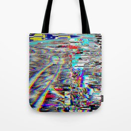 Glitch effect psychedelic illustration Tote Bag