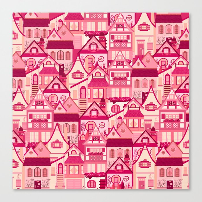 Pink Little Town Canvas Print