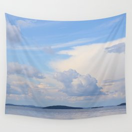 Blue Lakescape With White Clouds In The Blue Sky #decor #society6 Wall Tapestry