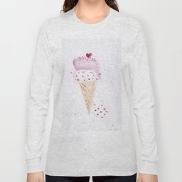 Ice cream Love watercolor illustration summer love pink strawberry Long Sleeve T-shirt