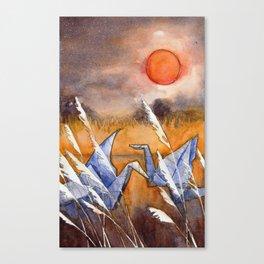 Cranes at Sunset Canvas Print