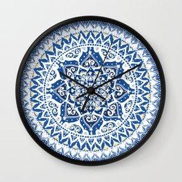 Yin Yang Mandala Pattern (Blue & Yellow) Wall Clock