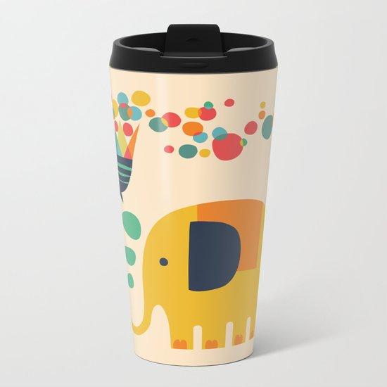 Elephant with giant flower Metal Travel Mug