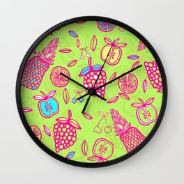 Tropicana on lime green Wall Clock