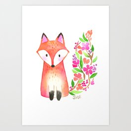 Floral Watercolor Fox Art Print