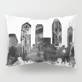 Black and white watercolor San Diego skyline Pillow Sham