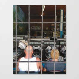laundromat couple Canvas Print