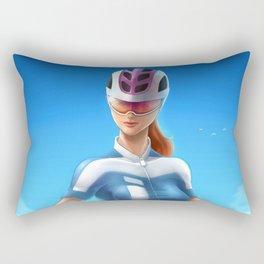 Cyclist girl Rectangular Pillow