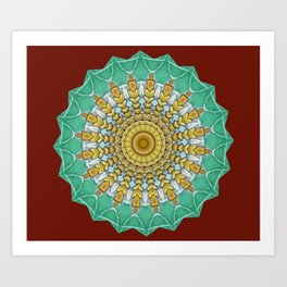 Lovely Healing Mandala  in Brilliant Colors: Burnt Orange, Green, Wheat, Gray, and White Art Print
