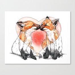 baby fox love Canvas Print